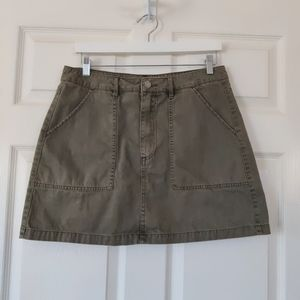 H&M army green denim mini skirt sz 12